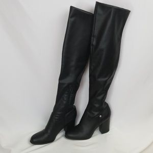 Guess over-the-knee, heeled, black boots, sz10M